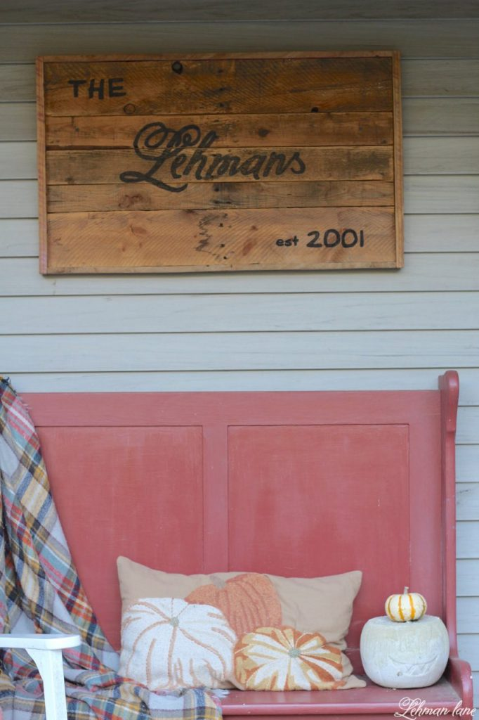 front porch planters for our pergola - farmhouse, bench, pumpkin pillow, pallet sign, fall porch