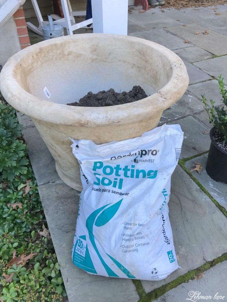 front porch planters for our pergola - potting soil