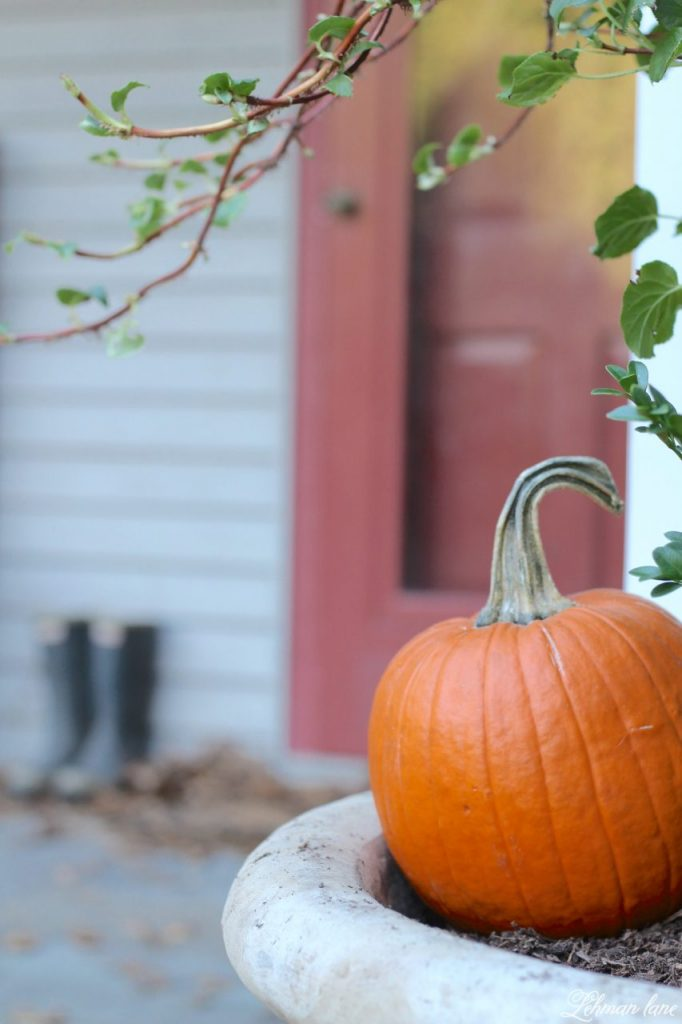 front porch planters for our pergola - pumpkin, fall farmhouse porch