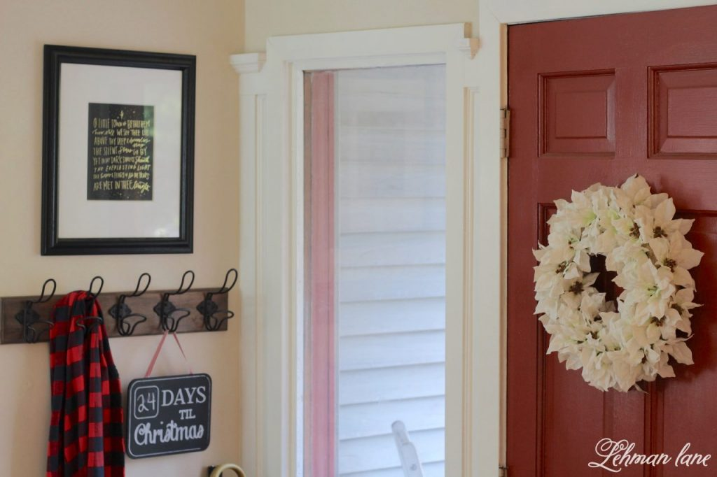 Christmas Entryway - farmhouse red door, white ponsietta wreath
