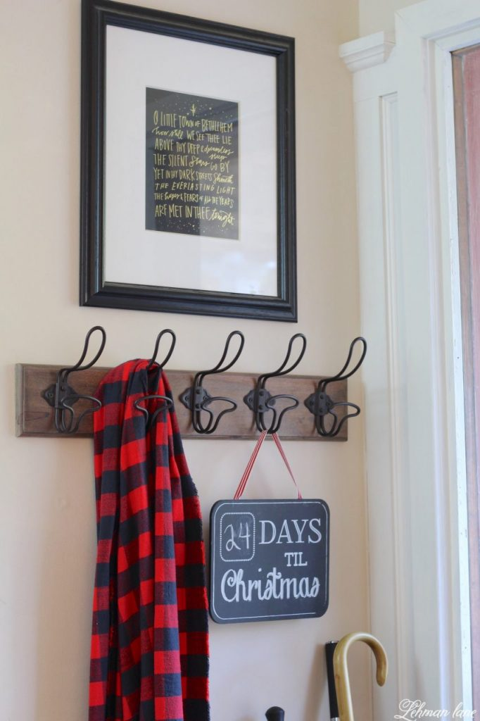 Christmas Entryway - farmhouse red door