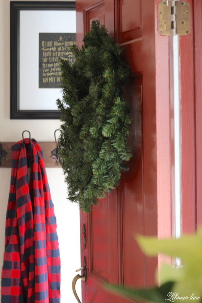 Christmas Entryway - red door, green wreath, scarf