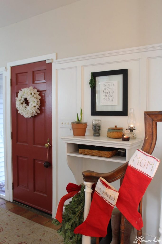 Christmas Entryway - farmhouse stairs