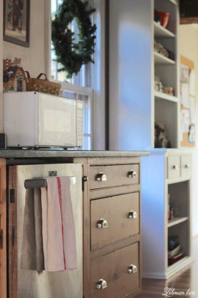 Christmas Home Tour - kitchen stepback cupboard
