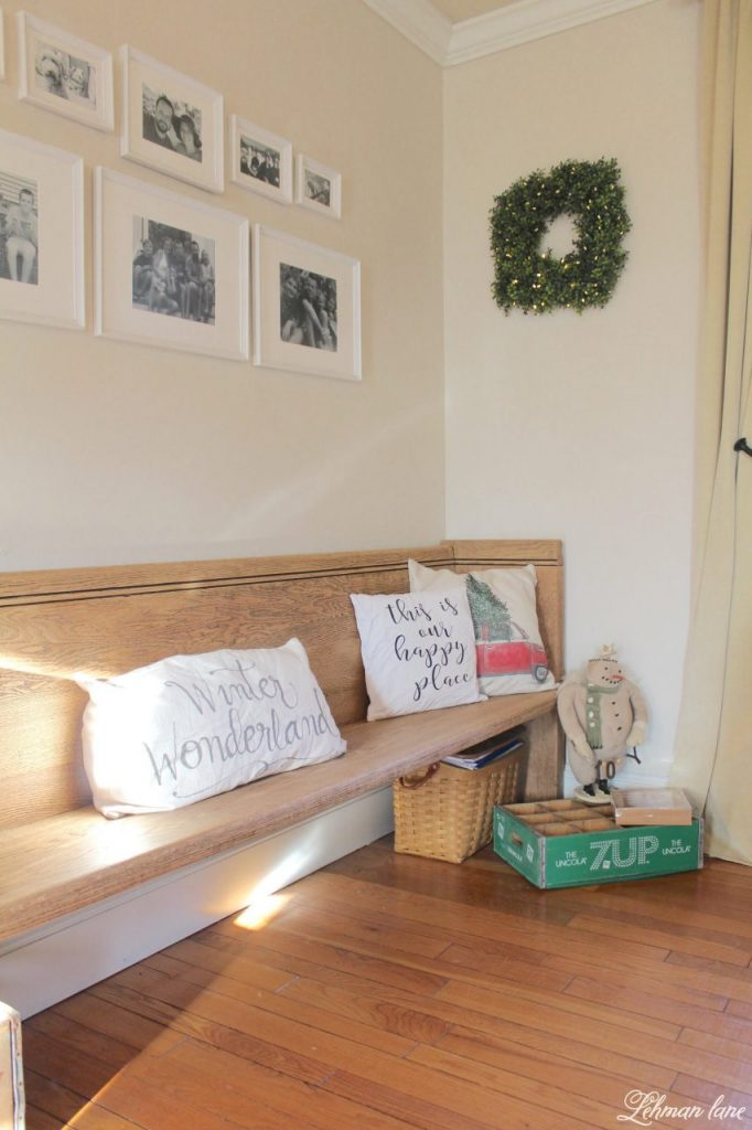 Christmas Home Tour - living room pew