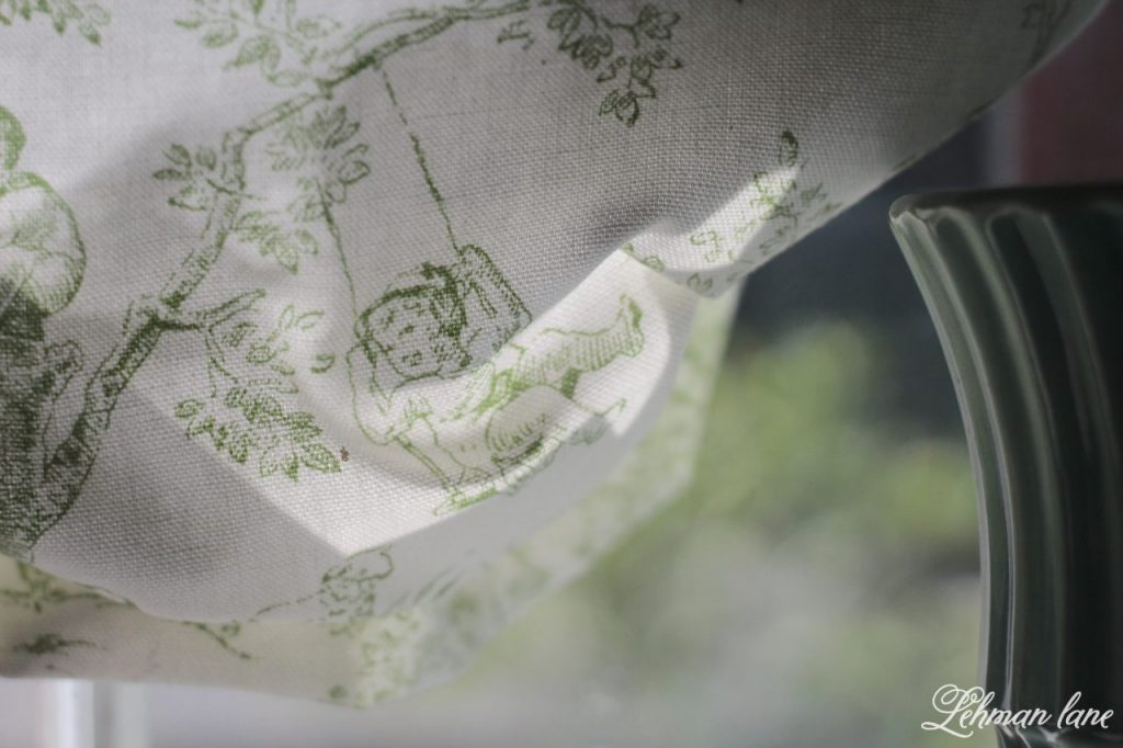 DIY Balloon Shade - French toile fabric for our bathroom window