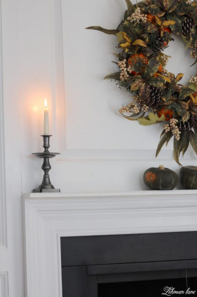 Fall Tablescape for Thanksgiving - Farmhouse Dining Room - fireplace
