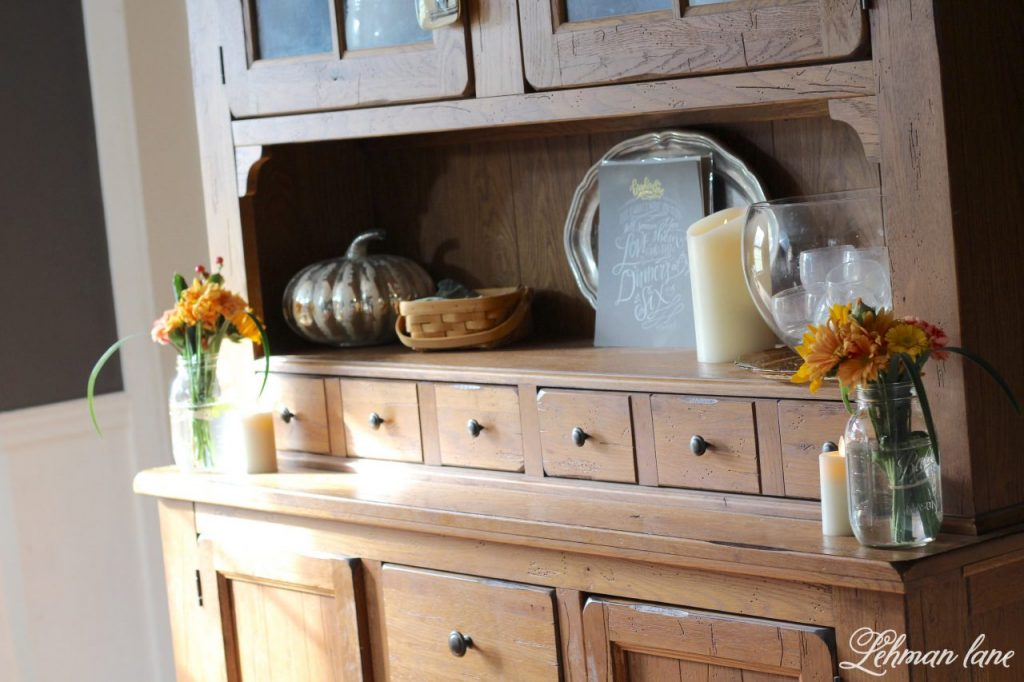 Fall Tablescape for Thanksgiving - Farmhouse Dining Room - hutch