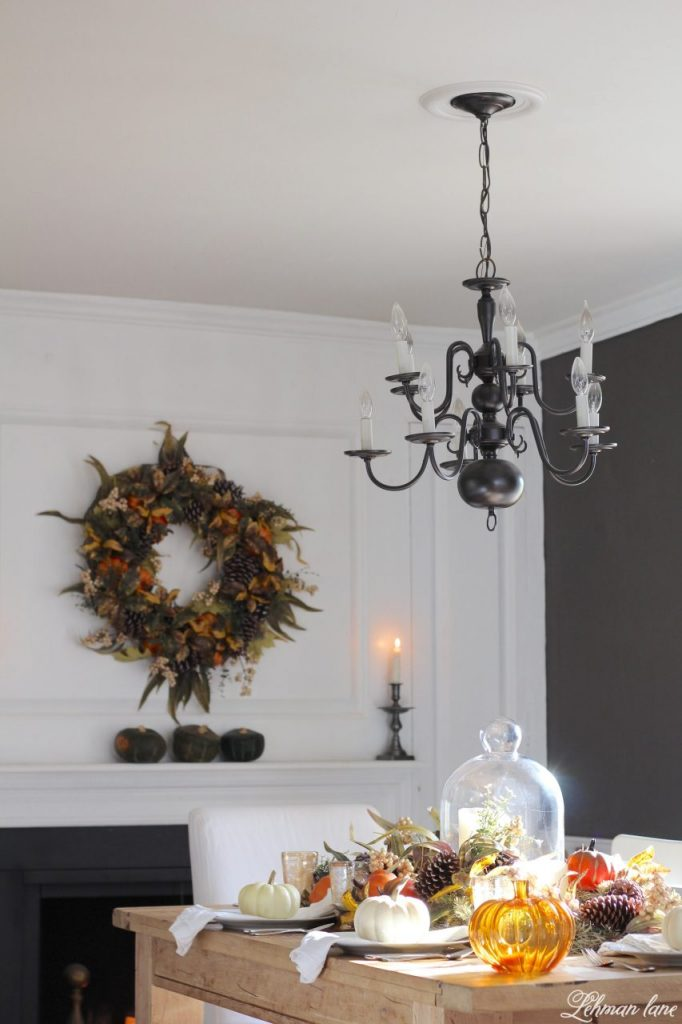 Fall Tablescape for Thanksgiving - Farmhouse Dining Room #falltablescape #thanksgivingtable http://lehmanlane.net