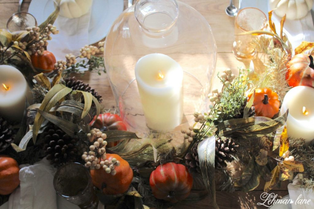 Fall Tablescape for Thanksgiving - Farmhouse Dining Room - candle and cloche