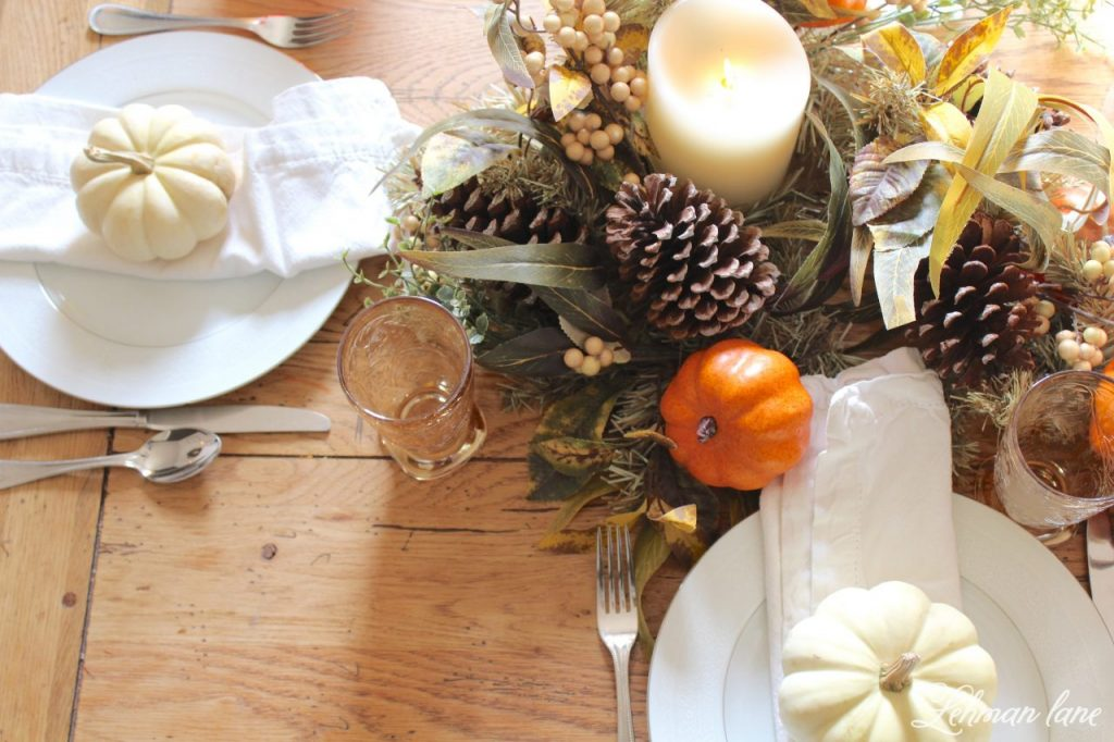 Fall Tablescape for Thanksgiving - Farmhouse Dining Room - place setting