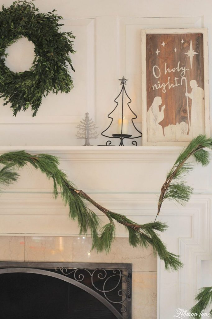 Green and White Christmas Mantel