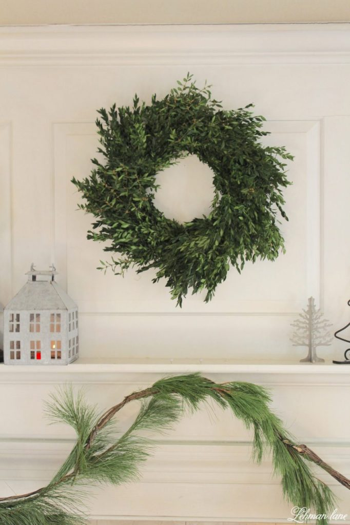 Green and White Christmas Mantel - fresh boxwood wreath