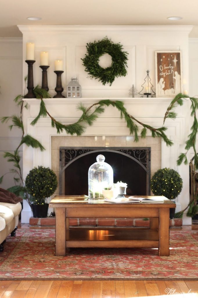 Green and White Christmas Mantel - farmhouse living room