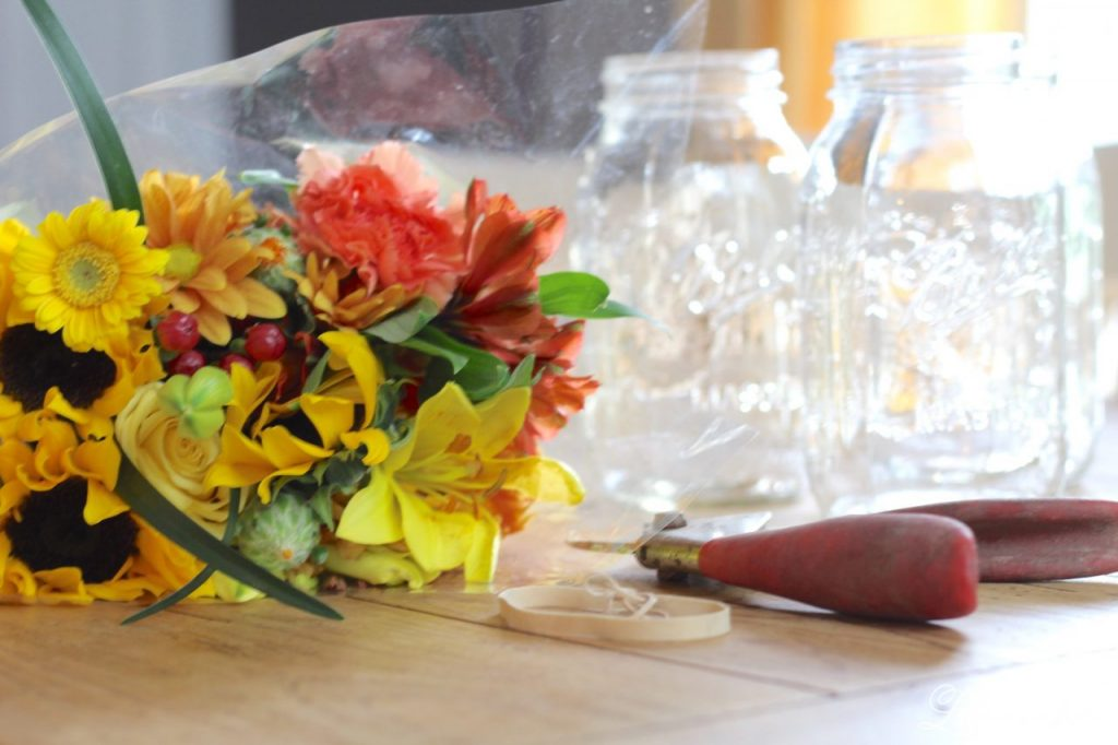 Simple Flower Arrangements- Trader Joe's bouquet into 3 flower arrangements