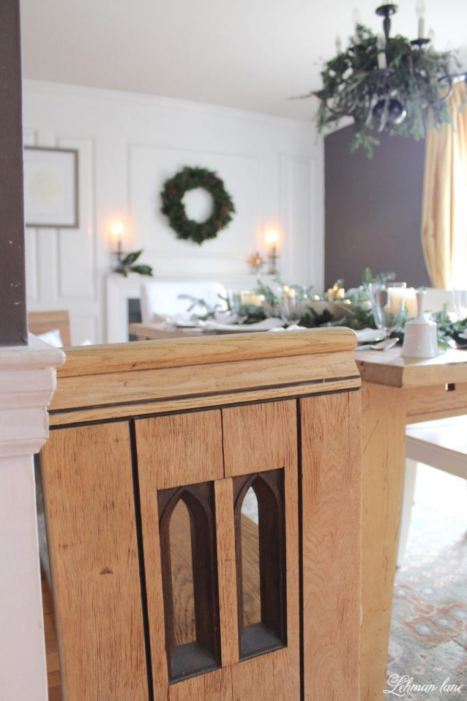 Christmas Tablescape - farmhouse dining room, church pew