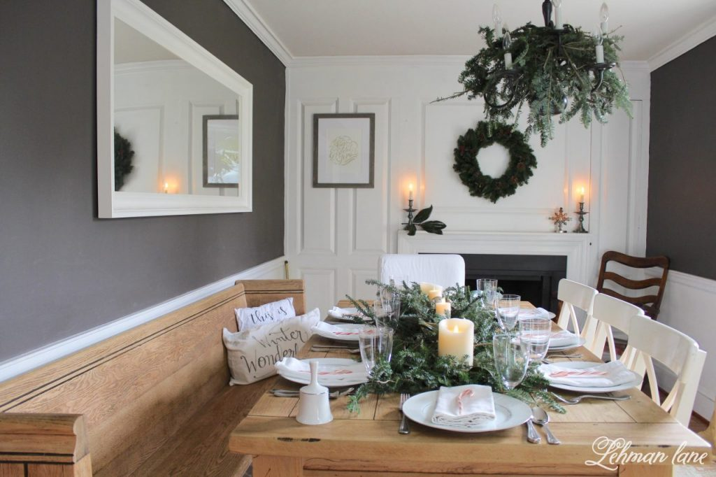 Christmas Tablescape - farmhouse table, pew dining room