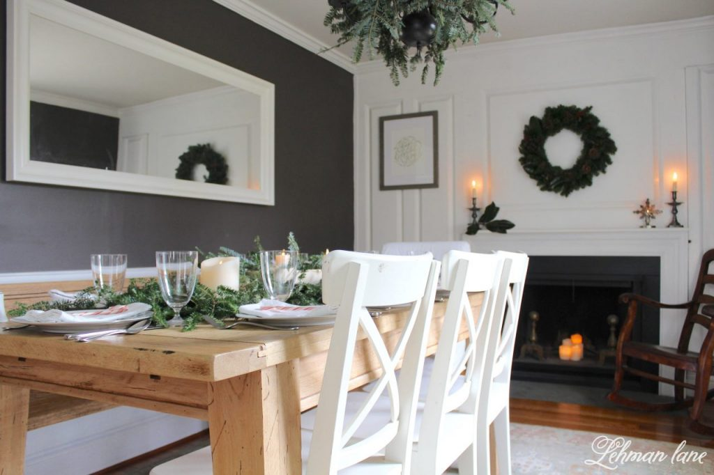 Christmas Tablescape - farmhouse table, dining room