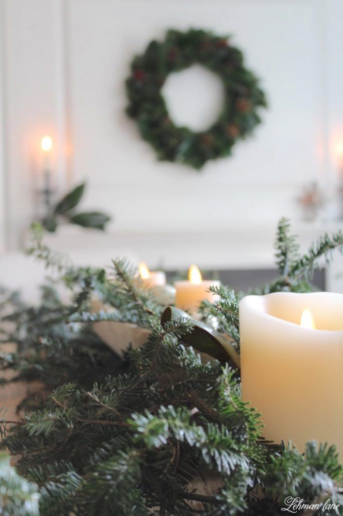 Christmas Tablescape - fresh greenery and candles