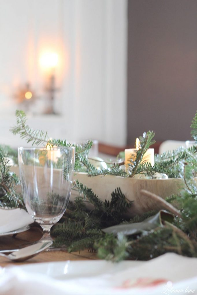 Christmas Tablescape - fresh greenery, dough bowl on our farmhouse table