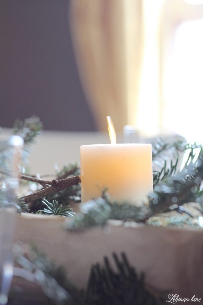 Christmas Tablescape - faux candle