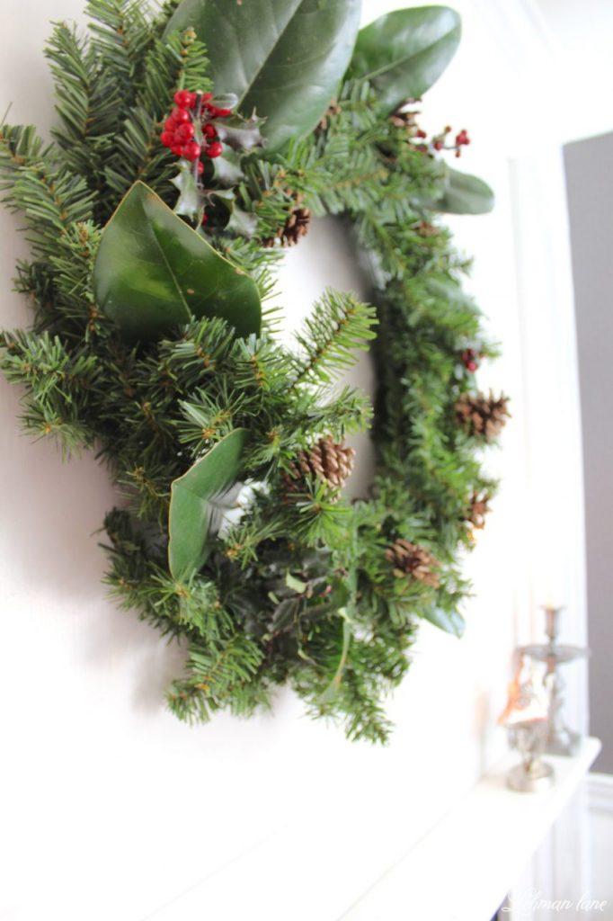 DIY Simple Christmas Wreath - no glue gun required in less than 10 mins! #Christmaswreath #diy #wreath http://lehmanlane.net -