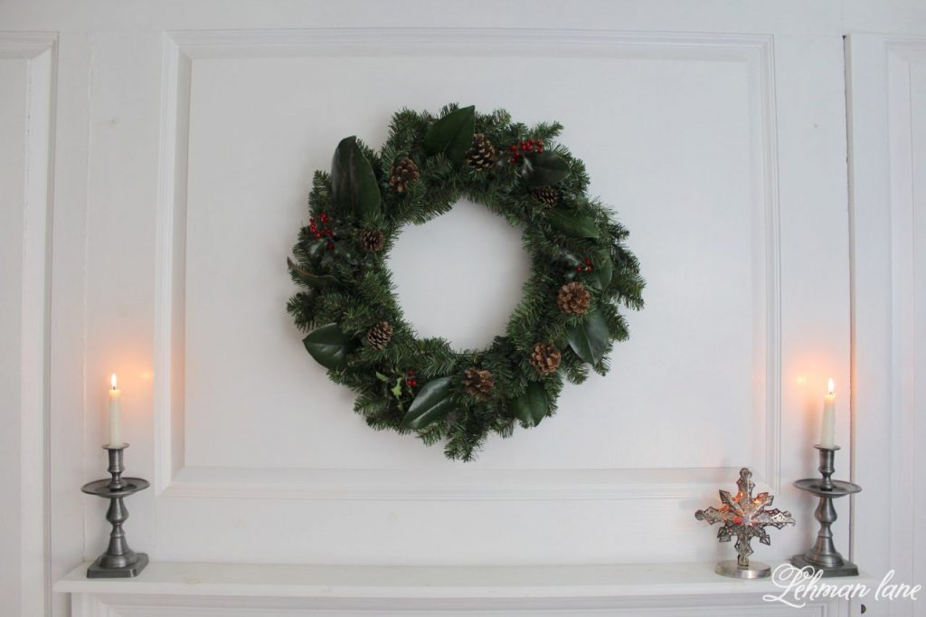 DIY Simple Christmas Wreath - no glue gun required, in less than 10 mins!