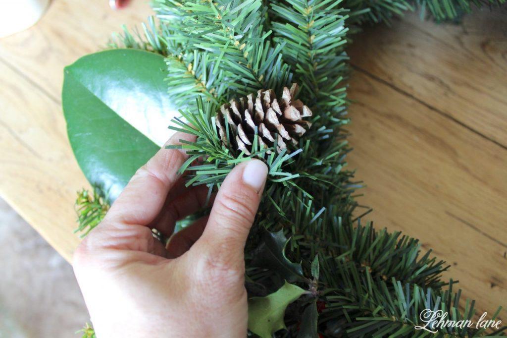 DIY Simple Christmas Wreath - adding pinecones