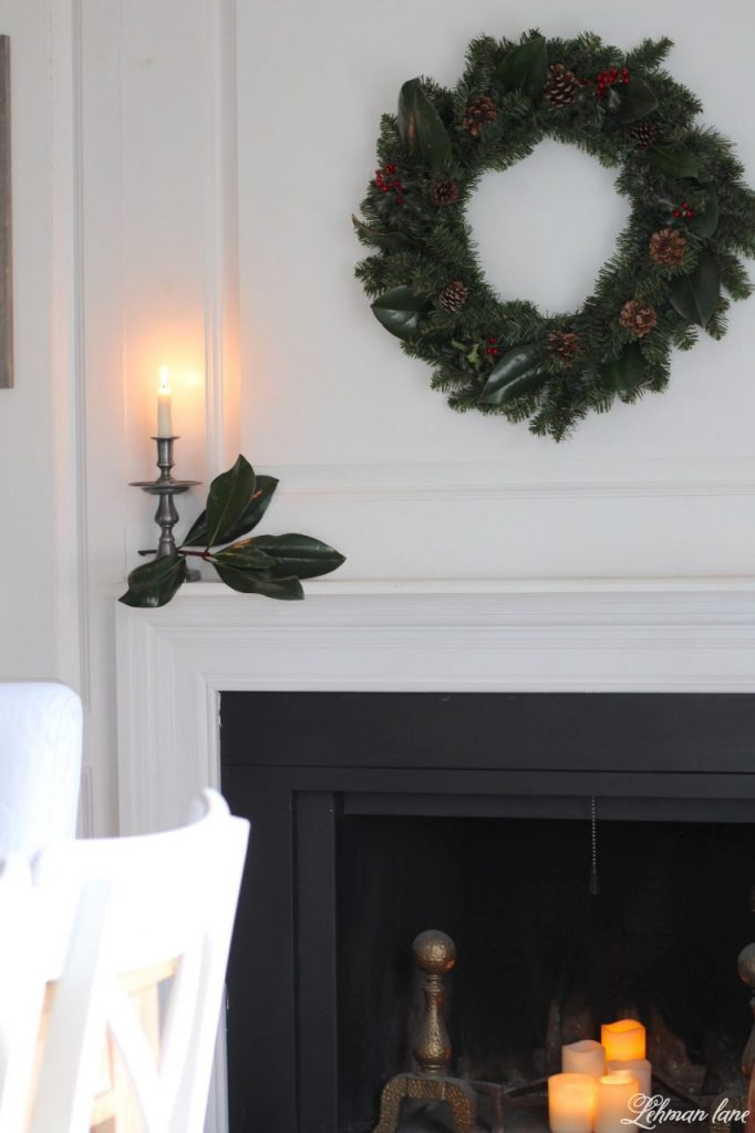 DIY Simple Christmas Wreath - dining room fireplace mantel