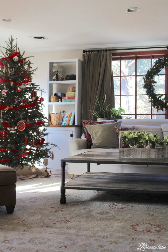 Happy Christmas Eve Eve Eve :).  Before all the Christmas wrapping, teddy bear bread making, and holiday punch drinking was over I wanted to share our family room Christmas tour and talk a little bit about all the Christmas tree craziness this year. #christmas #familyroomchristmas