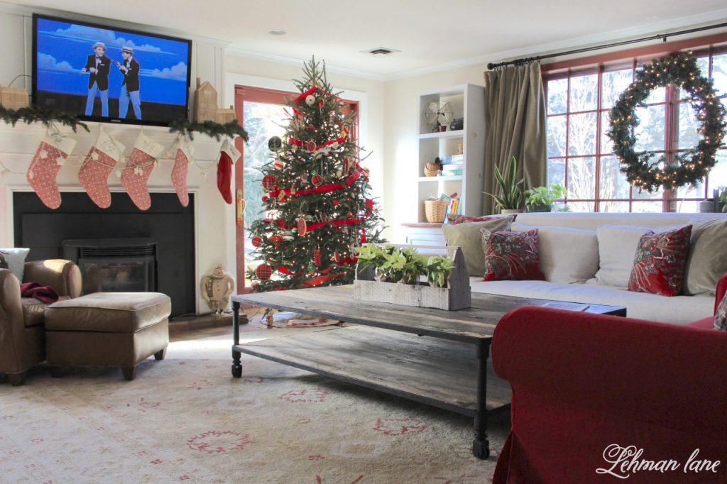 Happy Christmas Eve Eve Eve :). Before all the Christmas wrapping, teddy bear bread making, and holiday punch drinking was over I wanted to share our family room Christmas tour and talk a little bit about all the Christmas tree craziness at our farmhouse this year. #christmas #farmhousechristmas http://lehmanlane.net