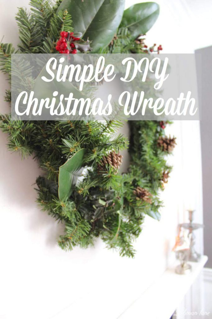 DIY Simple Christmas Wreath - no glue gun required in less than 10 mins! #Christmaswreath #diy #wreath http://lehmanlane.net