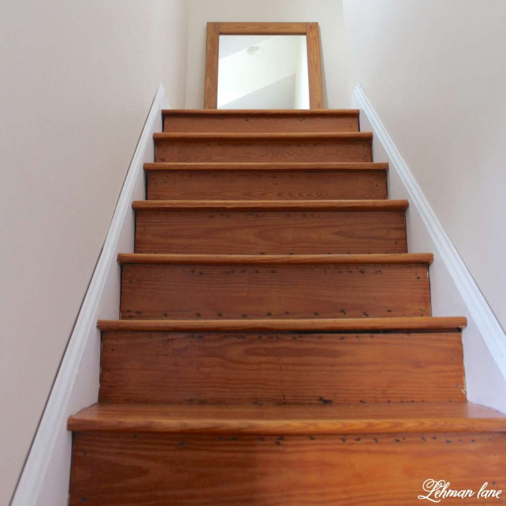 DIY - Refinishing Our Farmhouse Stairs - with mirror