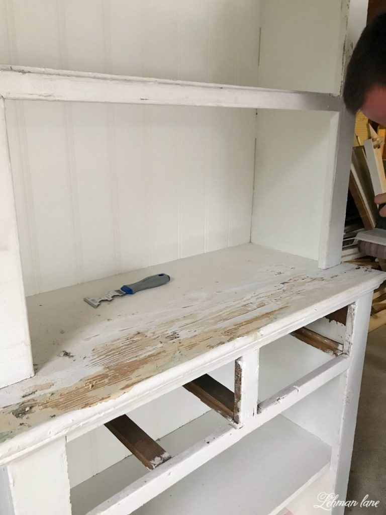 Refinishing a Stepback Cupboard - scraping