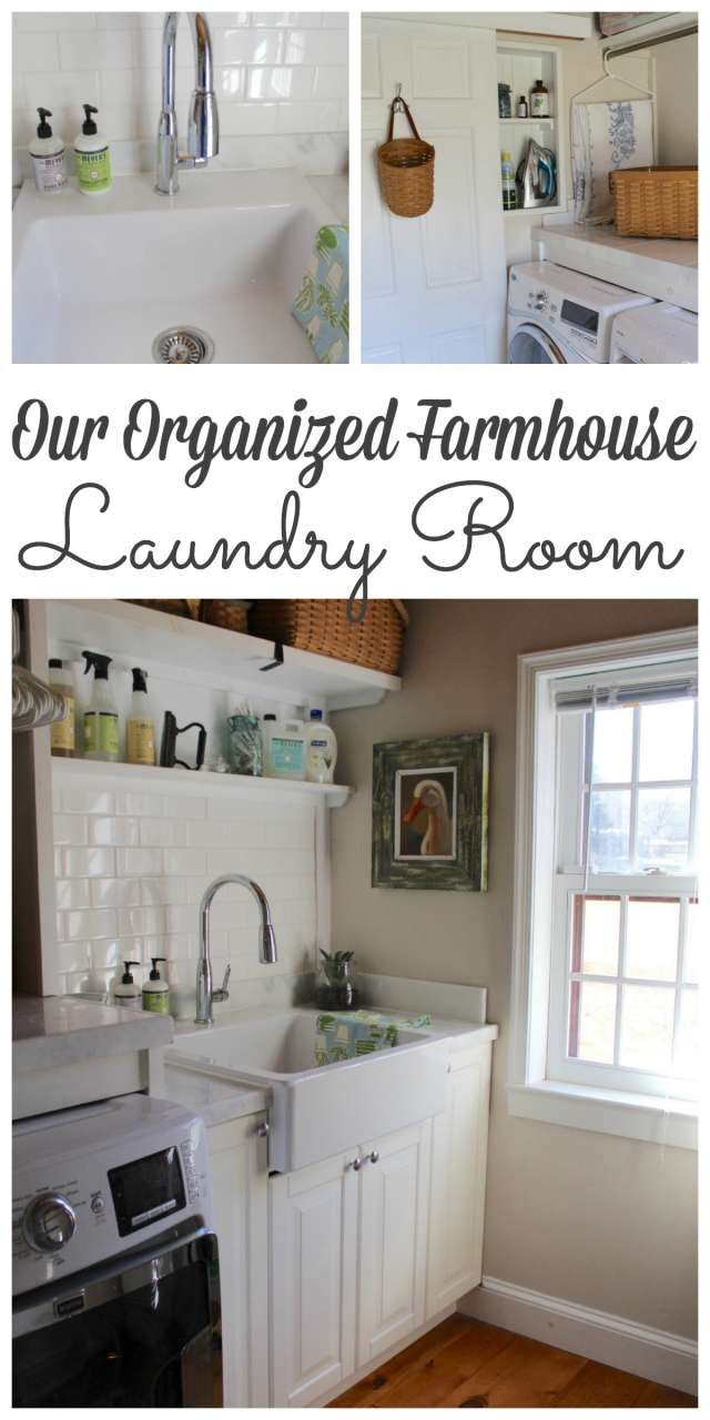 We spend so much time in our laundry rooms that there is no reason they shouldn't be pretty and organized! Stop by to see the prganized laundry room in our farmhouse! #laundryrooms #organized http://lehmanlane.net