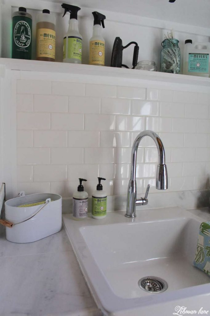 Laundry Room - Tiling and Organziation - sink and white subway tile
