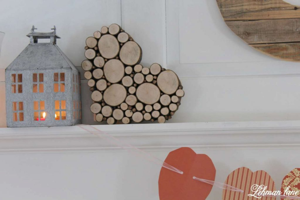 Wood Slice Heart - Valentine Mantel