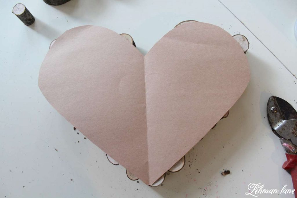 Wood Slice Heart - Valentine Mantel - construction paper heart