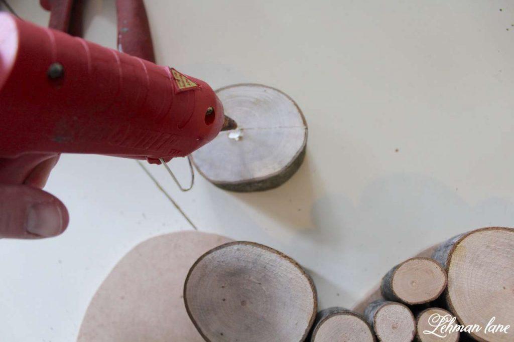 Wood Slice Heart - Valentine Mantel - glue gun