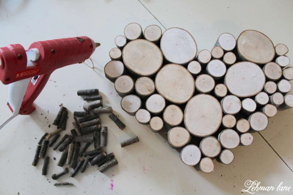 Wood Slice Heart - Valentine Mantel - small sticks