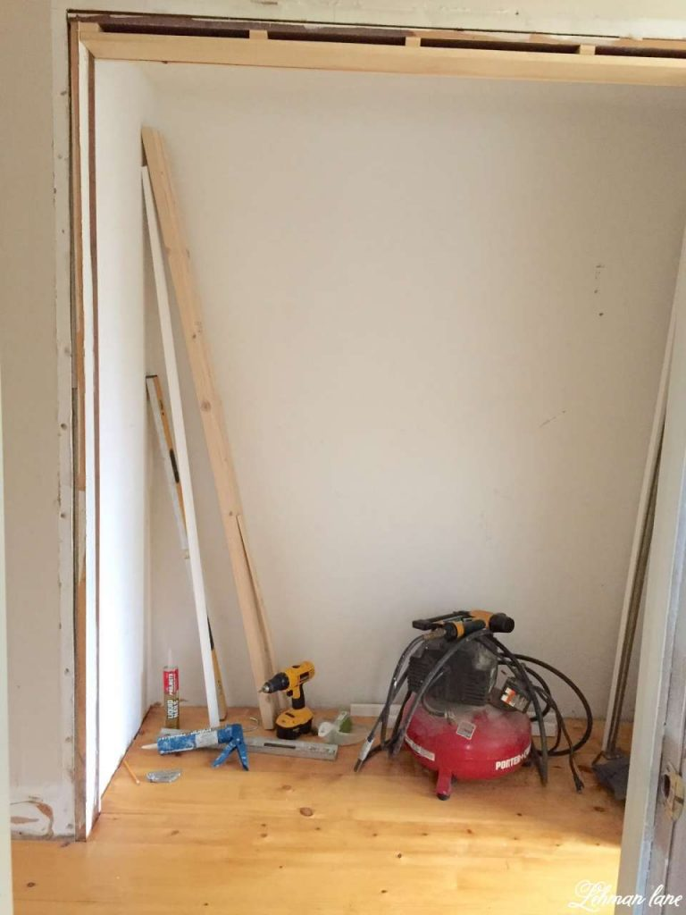 DIY - Closet Door Makeover - Bi-fold to Hinged - after pine floors are down