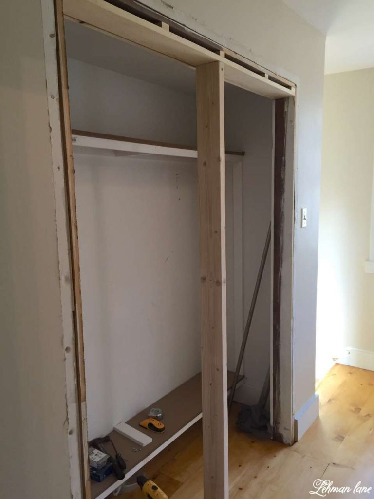 Diy closet door makeover bi fold to hinged lehman lane for Closet door ideas diy