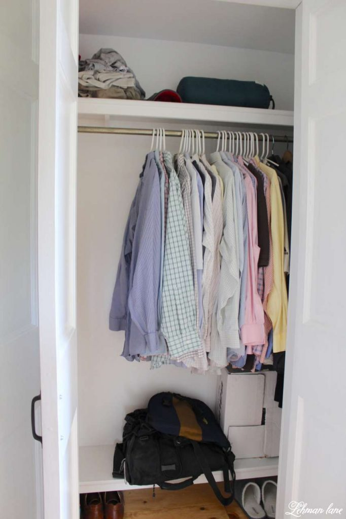 DIY - Closet Door Makeover - Bi-fold to Hinged - clothes hanging