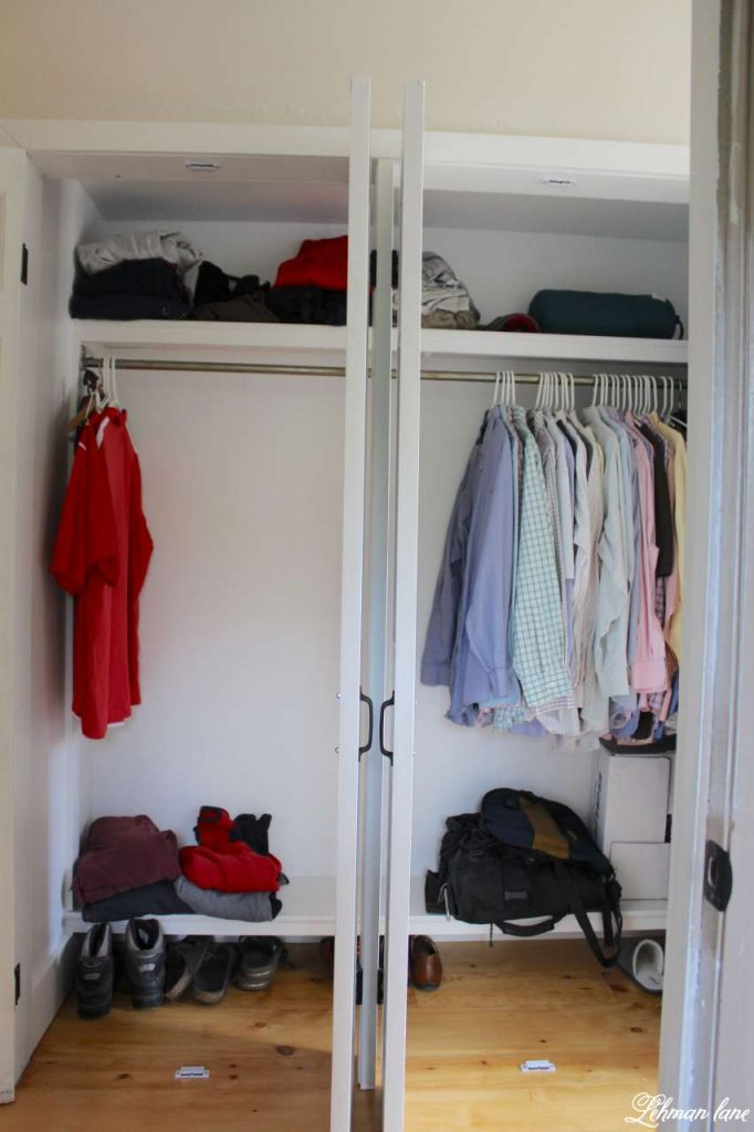 DIY - Closet Door Makeover - Bi-fold to Hinged - inside closet
