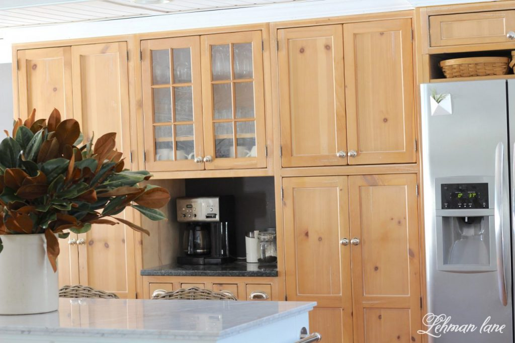 In order to save money on our kitchen remodel we decided to keep out current kitchen cabinets. Jason and I love the vintage details, pine color and quality craftsmanship of the cabinets in our kitchen but we knew that we wanted the change some of the layout our kitchen as well as make it brighter and feel much for open. So we decided to rearrange and rework our existing kitchen cabinets and here's what we did... #farmhousekitchen #kitchendiy http://lehmanlane.net