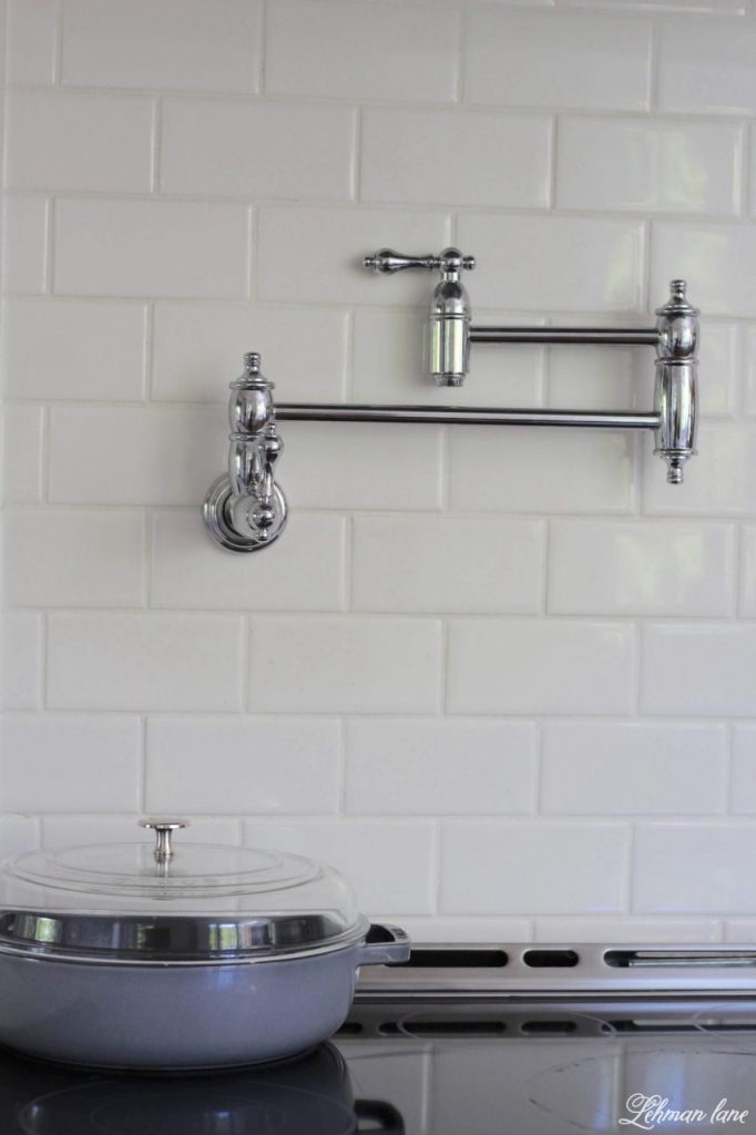 DIY Wood Range Hood - white subway tile and pot filler