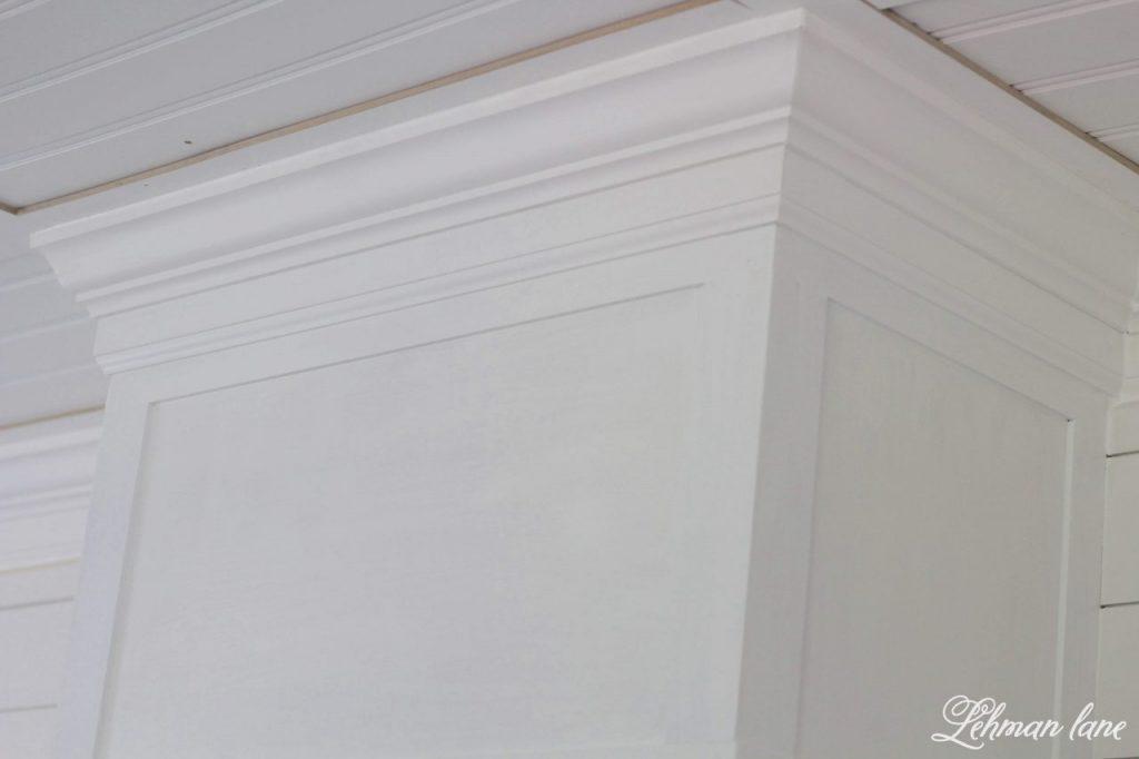 DIY Wood Range Hood - painting white and adding crown