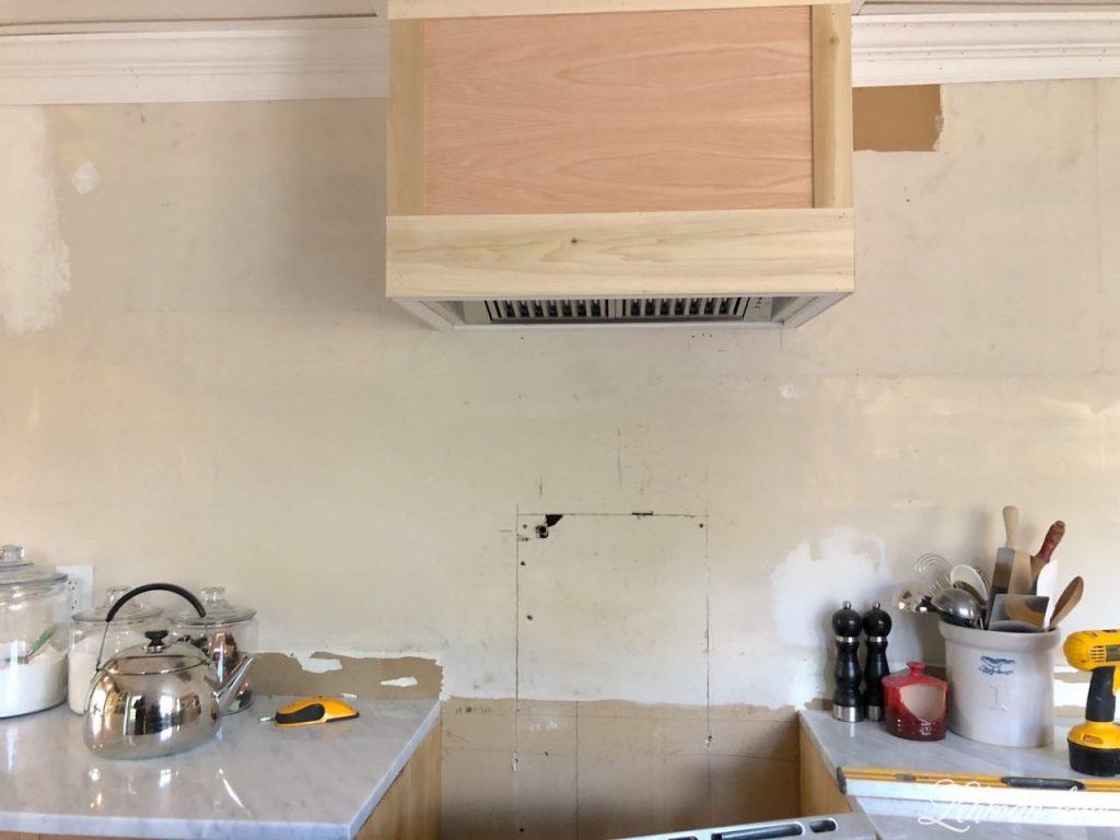 DIY Wood Range Hood - triming out the wood vent hood