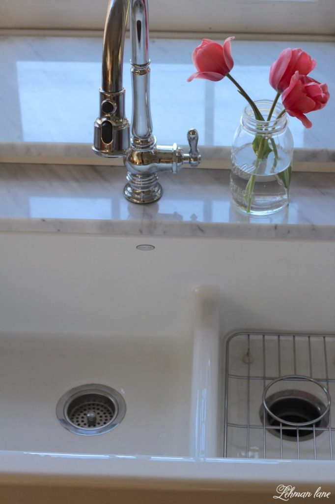 I am sharing our new GORGEOUS farmhouse sink and faucet for our kitchen. Woo Hoo!!! I can not believe what a difference this sink makes to our kitchen remodel.