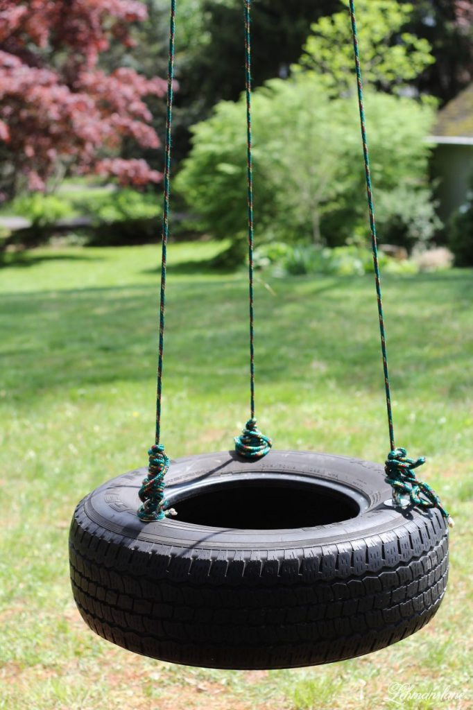 The kids have been bugging us to make a tire swing that 2 people could swing on at once. The tire swing we made was simple to create, inexpensive, and was up in less than an hour! #tireswing http://lehmanlane.net